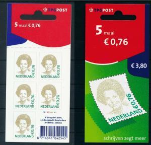 [17358] Netherlands 2005 Queen Beatrix €0,76 TPG Self Adh. Sheet MNH NVPH V2118