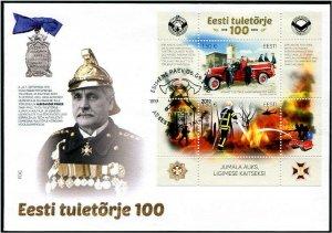 HERRICKSTAMP NEW ISSUES ESTONIA Sc.# 904 Fire Fighting Souvenir Sheet FDC