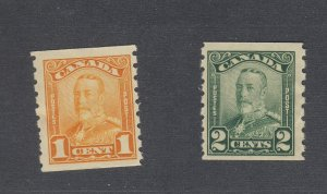 2x Canada Scroll Coil Stamps #160-1c #161-2c Both F+ Guide Value = $50.00