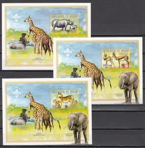 Guinea, 1999 issue. African Wild Animals, 3 IMPERF s/sheets. Scout logo. ^
