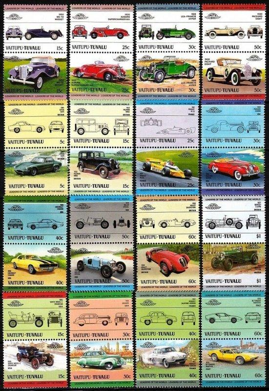 TUVALU VAITUPU 1984-85 History of CAR. Voiture Auto. COMPLETE - 16 Pairs, MNH