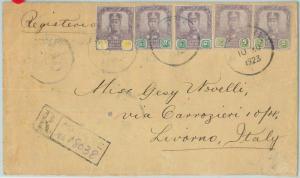 67634 - MALAYSIA  Johore - Postal History - REGISTERED Cover to ITALY  1923