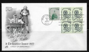 US Cachet FDC 1977,Definitive Issue The Ability to Write ,VF-XF !