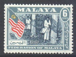Malaya Federation Scott 80 - SG1, 1957 Tapping Rubber 6c MNH**