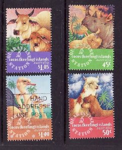 Cocos (Keeling) Is.-Sc#319-22-used set-Imported Animals-1996-