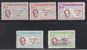 Guernsey -Alderney, Local Issues, Liberation & Churchill Overprints, NH
