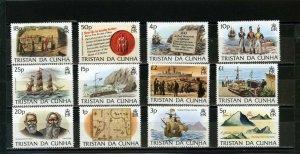 TRISTAN DA CUNHA 1983 SHIPS/ISLAND HISTORY SET OF 12 STAMPS MNH