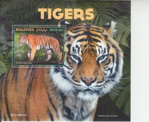 2019 Maldives Tigers SS (Scott NA) MNH