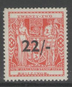 NEW ZEALAND SGF216 1945 22/= on 22/= SCARLET MTD MINT