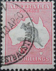 Australia 1932 Ten Shillings Kangaroo C of A Watermark SG 136 used