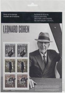 Canada - *NEW* Leonard Cohen Stamp Pane  - MNH