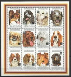 St. Vincent MNH S/S Domestic Pets Dogs Fauna 12 Stamps