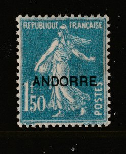 Andorra a MH 1F.50 France overprinted
