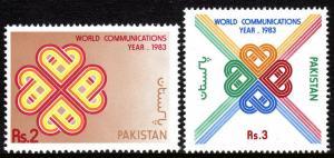 Pakistan 593-594, MNH. World Communications Year. Symbol, 1983