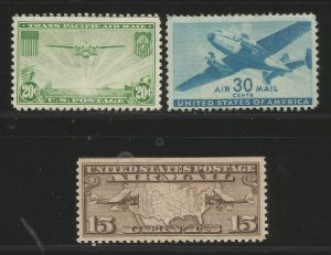Lot # A102 Scott #C64, C30 & C8 Air Mail Stamps