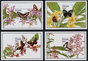 Guyana 2344-7 imperf MNH Butterflies, Flowers