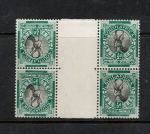 South Africa #33c (SG #42b) Very Fine Never Hinged Block **With Certificate**