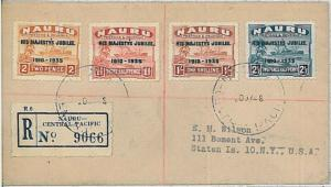 POSTAL HISTORY cover -  NAURU : 1935 JUBILLE stamps on cover postmarked 1948