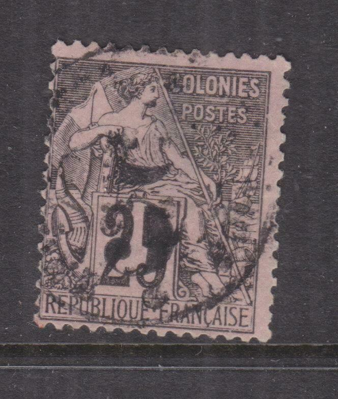 FRENCH INDO CHINA, COCHIN CHINA, 1885 5 on 25c. Black on Rose, used, thin.