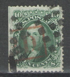 US 1861 Sc# 68 Used G/VG with SE and partial red PAID