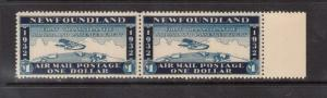 Newfoundland Mint $1 Wayzata Airmail XF/NH Right Margin Pair