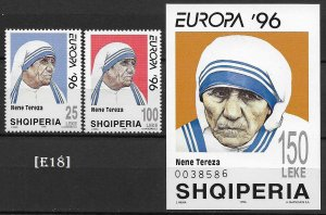[E18]-Albania1996, Europa, Mother Teresa,MiNr. 2589-90,r. Bl.107, MNH