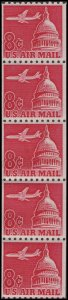 US C65a Airmail Jetliner over Capitol 8c coil strip (5 stamps tagged) MNH 1964