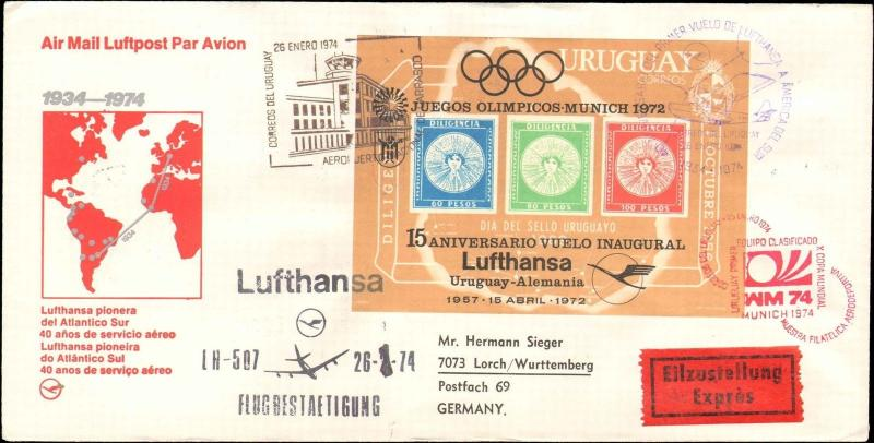 1974 URUGUAY GERMAN LUFTHANSA FLIGHT COVER WITH CACHETS / CANCELS