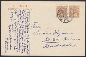 SLESVIG 1920 7½pf poscard uprated with 7½pf stamp used to Berlin............H345
