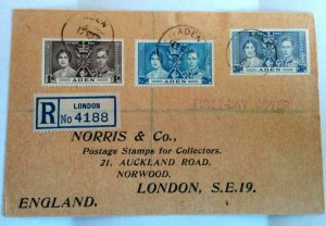 """SCARCE COVER SENT FROM ADEN WITH UNIQUE """"LONDON"""" REGISTRATION LABEL TO UK WITH R"""