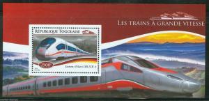 TOGO  2014  HIGH SPEED TRAINS  SOUVENIR SHEET MINT NH
