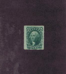 SCOTT# 35 UNUSED OG PH 10 CENT WASHINGTON, 1859, FINE-VERY FINE, PF CERT.