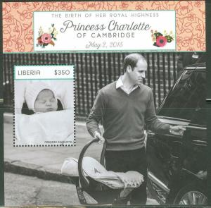 LIBERIA THE BIRTH OF PRINCESS CHARLOTTE S/S DEPICTING PRINCE WILLIAM MINT NH