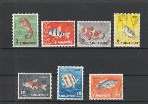 Singapore  Scott#  53-59  MH  (1962 Malayan Fish)