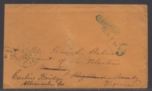 **CSA Cover, Charlottesville, VA, Handstamped, Paid 5, Forwarded 9/15/1861