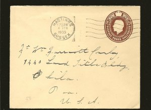 Great Britain 1935 King George V 1-1/2P Prestamped Cover Hastings Sussex to USA