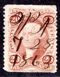 R42b - 20c - Inland Exchange - part perf - used, red - ms cancel 7/28/1863