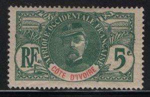 IVORY COAST, 24, HINGED, 1906-07, Gen. Louis Faidherbe