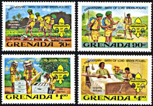 Grenada 1088-1091, MNH, 75th Anniversary of Boy Scouts