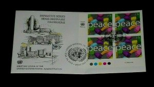 U.N. 2003, NEW YORK #837-841a, DEFINITIVE L.R. INSC. BLK/4 & SINGLES ON FDCs,