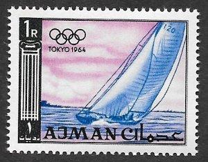 Ajman Scott #32 1R Sailboat, Olympics (1965) MNH