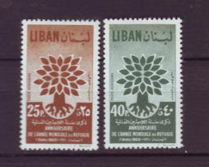 J2900 JLS stamps 1960 lebanon set/2 #c284-5 $2.25v refugees
