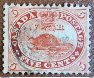 Canada Sc15 (1859) Used  BEAVER VF
