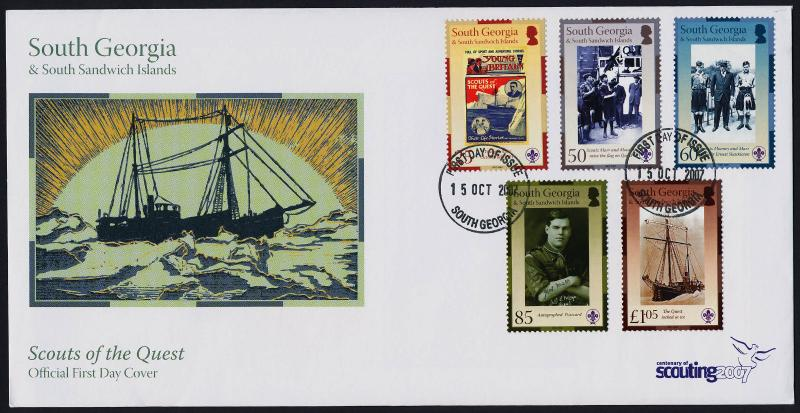 South Georgia 354-8 on FDC - Scouts of the Quest, Shackleton, Flag