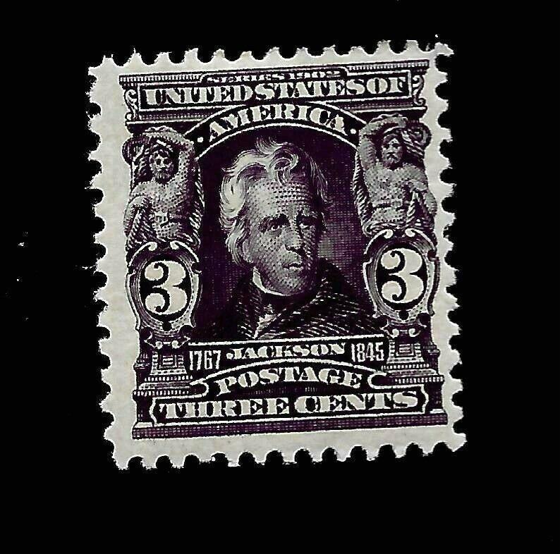 US 1903 Sc# 302 3 c  Jackson Mint HR - Deep Purple -Vivid Color - Great Perfs