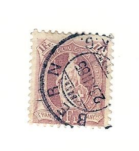 Switzerland, 87, Helvetia Large Numeral Single, Used