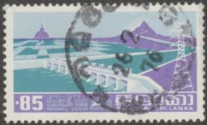 Sri Lanka stamp, Scott# 499, used,  purple, hydro, power, moutains, bridge #M501