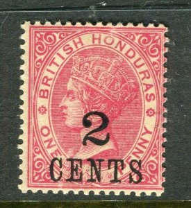 BRITISH HONDURAS; 1888 surcharged QV issue Mint hinged Shade of 2 CENTS value