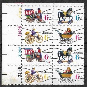 USA # 1418c  Toys - precancel   plate block 8  UL  (1)  Mint NH