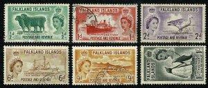 Falkland Islands.1952-57 QEII definitives. SG 187-192